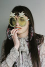 Camel-pineapple-diy-sunglasses-light-purple-sequins-thrifted-top