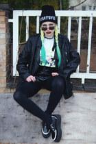 black beanie Local Heroes hat - black leather vintage jacket