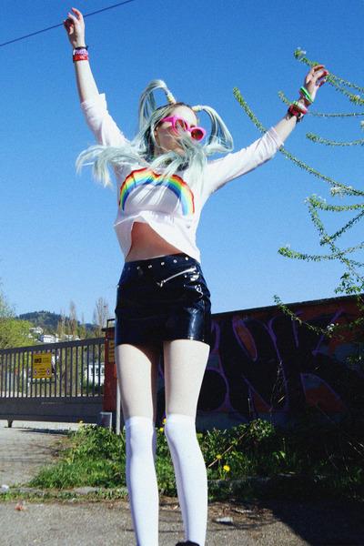 light pink rainbow DIY shirt - black pvc thrift skirt