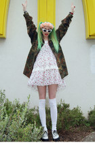 olive green army thrift jacket - ivory creepers Demonia shoes