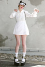 White-adidas-hat-white-unif-sandals-white-frilly-vintage-blouse
