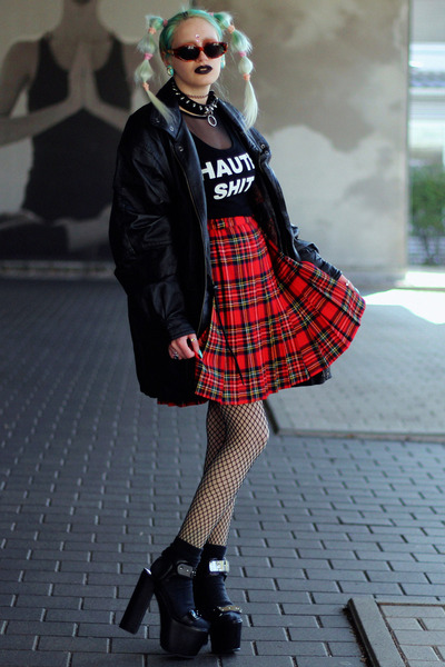 black supershop24hrs top - black thrift jacket - red plaid tartan vintage skirt