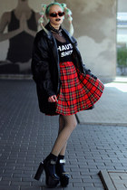 red plaid tartan vintage skirt - black thrift jacket - black supershop24hrs top