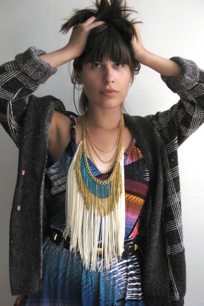sweater - gojanecom dress - belt - norwegian wood necklace