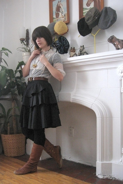 blouse - belt - Zara skirt - Aldo boots - necklace