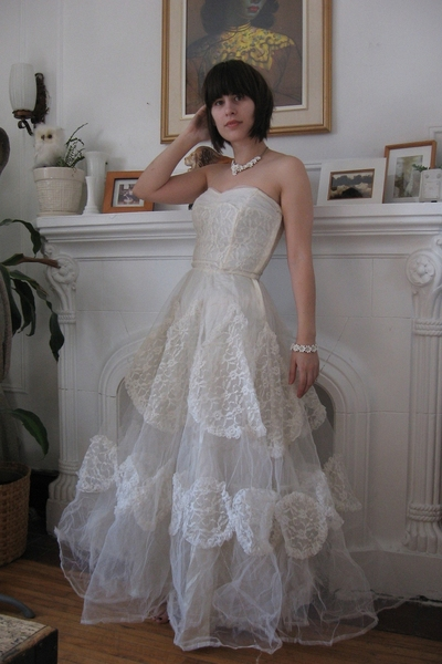 white wedding dress vintage dress