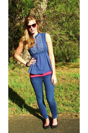 navy ankle jeans - TJMaxx shirt - Cami top