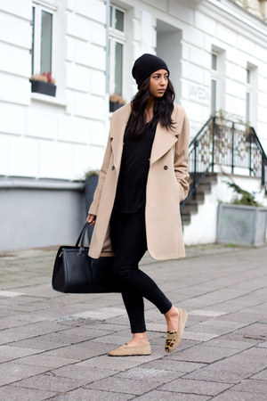black J Brand jeans - bronze Bobbies shoes - beige Club Monaco coat
