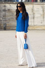 Blue-forever-21-sweater-white-kraviech-pants-white-mode-collective-heels