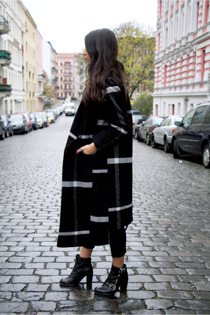black asos coat - black All Saints boots - black fidelity jeans