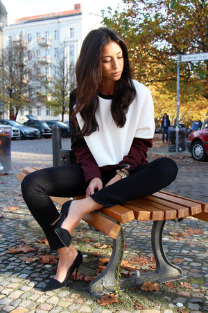 crimson COS sweater - black Fidelity Denim pants - black Aldo heels