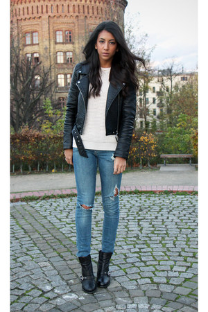 black All Saints boots - blue Topshop jeans - black Zara jacket