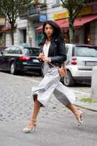 white Baujken blouse - black Zara jacket - bronze etienne aigner bag