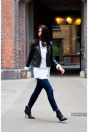 black Maje coat - navy Paige Denim jeans - white COS blouse