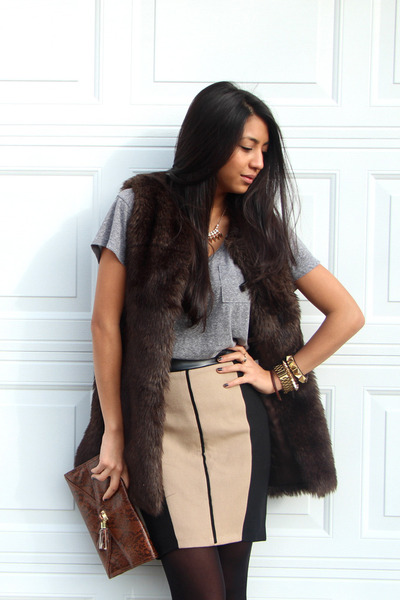 dark brown fur vest Club Monaco vest - brown clutch H&M bag