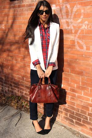 navy straight jeans fidelity jeans - white white blazer Pinky Yotto blazer