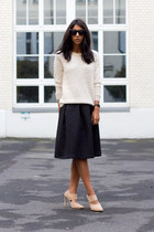 black FASHION ID skirt - off white FASHION ID sweater - neutral Schutz heels
