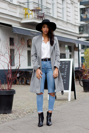 heather gray Hallhuber coat - sky blue asos jeans - white Baukjen blouse