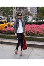 Grey-suede-zara-shoes-red-dujour-fendi-bag-white-theory-blouse
