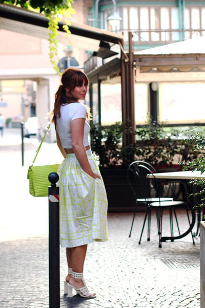 white crop asos top - chartreuse clutch asos bag - white striped asos skirt