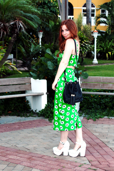 chartreuse pencil asos skirt - black duffle asos bag - white asos heels