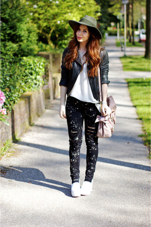 black ripped bleached Tripp NYC jeans - white platform asos shoes
