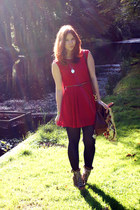 ruby red pleated Dahlia dress - tawny lace up Chloe boots - eggshell tba blazer