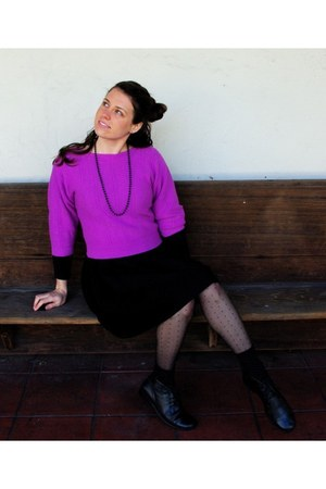 pink-purple thrifted vintage sweater - full waist vintage dress