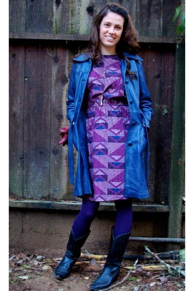 Purple 80s Vintage Dresses, Blue Leather Vintage Jackets