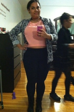 black JCPenney leggings - Kmart boots - H&M blazer - coral crop top H&M top