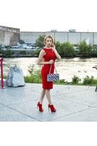 red calvin klein dress - blue Chanel purse