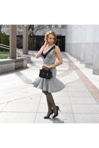 black Chanel bag - silver dress