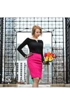 black vintage top - hot pink banana republic skirt