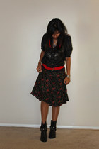 black boots - black top - Red and Black floral skirt - Red belt