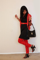 black dress - Red shirt - black purse - Red n Black pants - Red belt - black hee