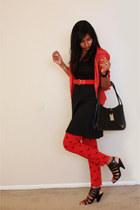 black dress - Red shirt - black purse - Red n Black pants - Red belt - black hee