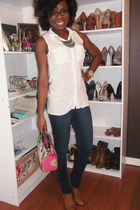brown seychelles boots - navy Levi jeans - cream H&M blouse