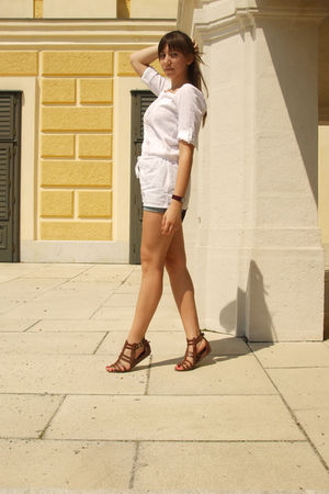 white kenvelo shirt - blue c&a shorts - brown H&M shoes