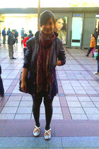 dark brown scarf scarf - navy juice ematic dress - black Gaudi jacket