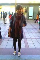 dark brown scarf scarf - navy juice ematic dress - black Gaudi jacket