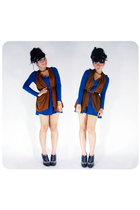 blue juzzie dress - brown juzzie vest - brown Rotelli shoes
