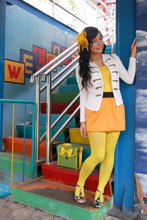 white jesicca masbrata jacket - orange my old skirtim forgot skirt - gold kaskus