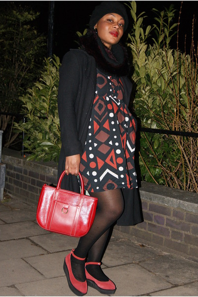 brick red Office pumps - brick red asos dress - black Sisley coat