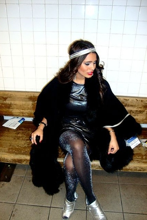 gray dress - silver stockings - silver shoes - black coat