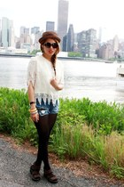 blue London Blue shorts - cream Fringe Top top - dark brown colombian wedges