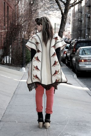 beige misc shoes - red Tripp NYC jeans - beige vintage cape - black Uniqlo  top da42153956aff