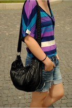 amethyst striped top - black bag - gray DIY shorts