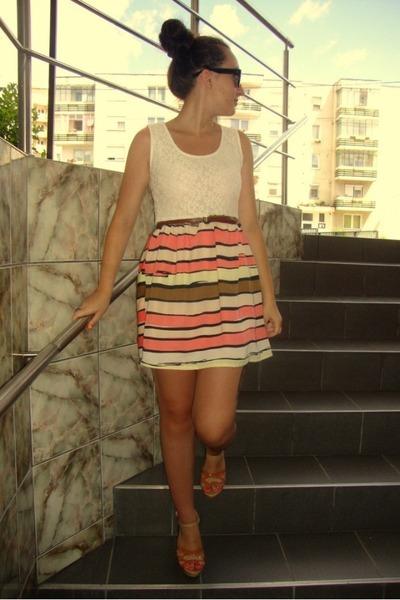 salmon unknown brand dress - bronze unknown brand heels