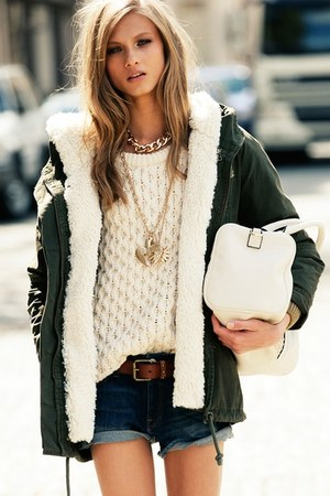 forest green Mango jacket - ivory knit Mango sweater - white Mango bag