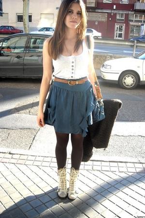 white Bimba y Lola boots - blue Zara skirt